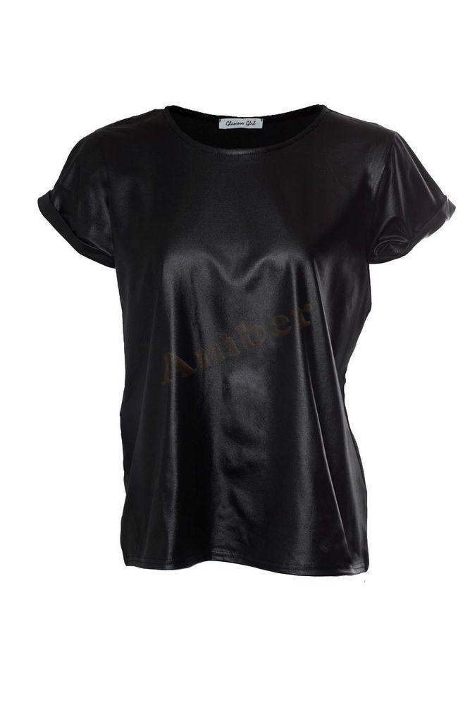 Womens Wet Look PVC Leather Look Shiny T Shirt Cap Sleeve Ladies Topuk 8 14 | eBay