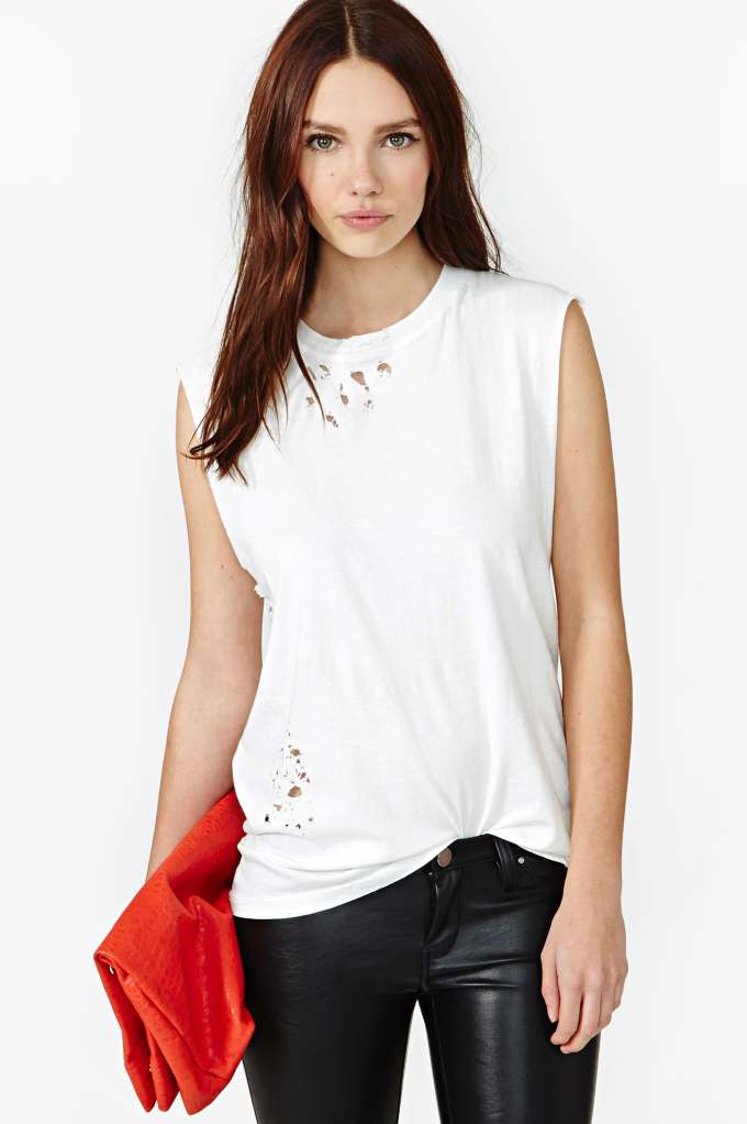 After Party Vintage Tumble Muscle Tee - White in  Clothes at Nasty Gal