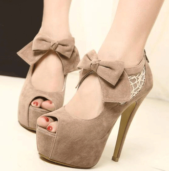 shoes heels tan nude beige bow peep toe caramel high heels fashion style trendy lace suede bow heels platform shoes cut-out kawaii girly pretty cute feminine