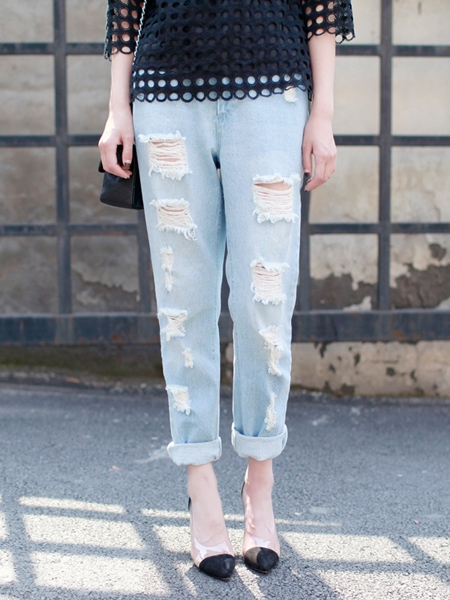 High Waist Jeans With Cut Out   Choies