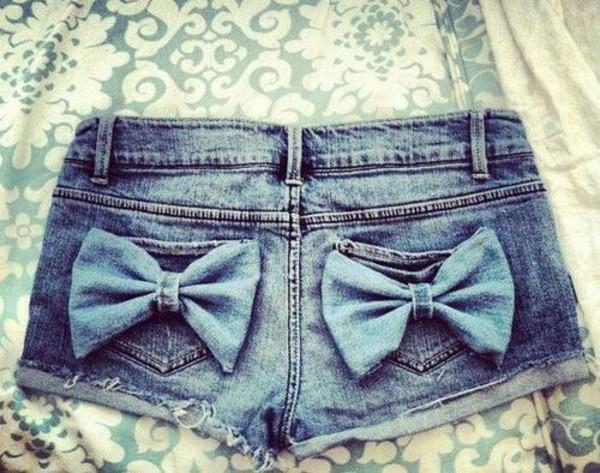shorts bow denim vintage jeans bows bows short jeans pockets cut off shorts denim shorts