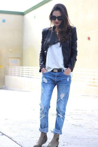 frankie hearts fashion blogger shoes sunglasses ripped jeans black jacket white t-shirt jacket shirt jeans
