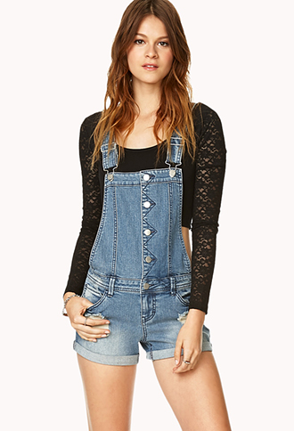 Distressed Overall Shorts | FOREVER 21 - 2000072276