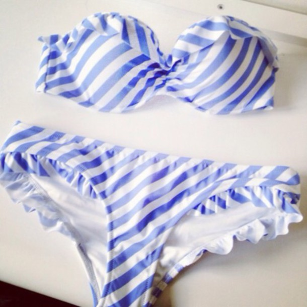 swimwear blue and whit stripes