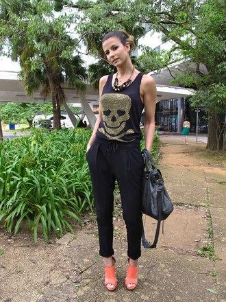 skull black pants pants t-shirt
