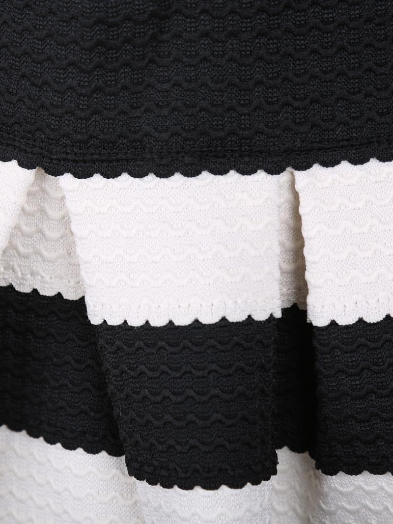 Black White Striped Three Quarter Length Sleeve Stripe Dress - Sheinside.com