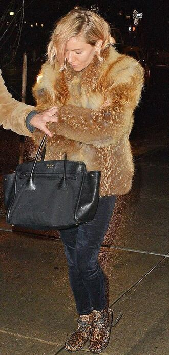 shoes winter coat fur fur coat sienna miller pants