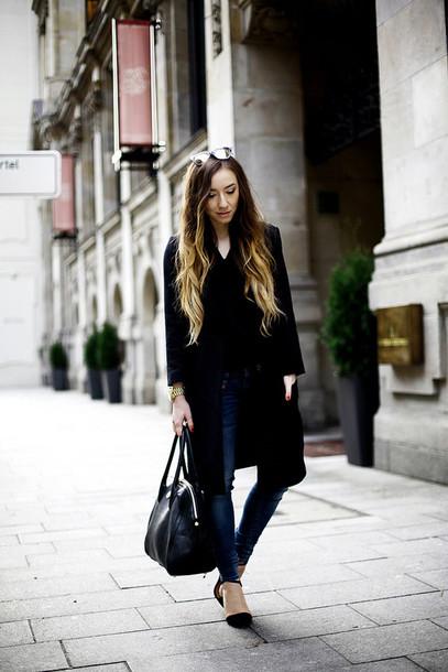 flirting with fashion blogger coat casual handbag blouse jeans shoes bag sunglasses jewels