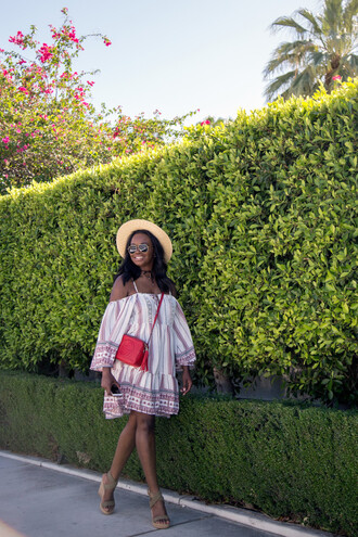 millennielle blogger off the shoulder mini dress gucci red bag floppy hat