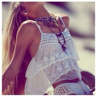 tank top white crochet lace indie hipster necklace hipster necklaces indie bikini top indie top hipster top white lace top crochet bikini layered top swimwear jewels