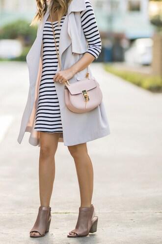 lace and locks blogger dress coat shoes bag sunglasses chloe bag striped dress vest ankle boots