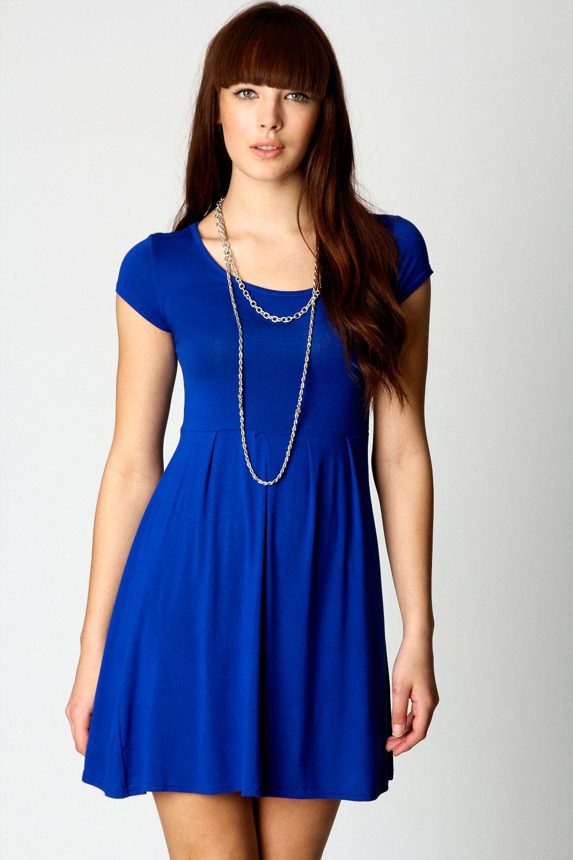 Boohoo Claudia Jersey Cap Sleeve Skater Dress | eBay