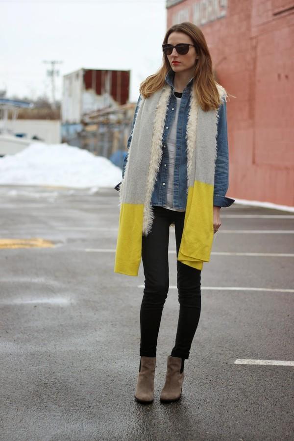 jess style rules jeans shirt jacket blouse scarf shoes sunglasses