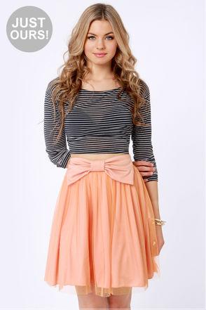 Cute Peach Skirt - Skater Skirt - Mini Skirt - Tulle Skirt - $35.00