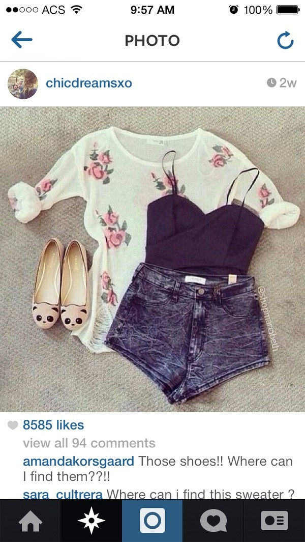 sweater floral shorts shoes tank top