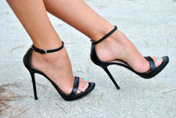 shoes black shoes black shoes with ankle straps high heels