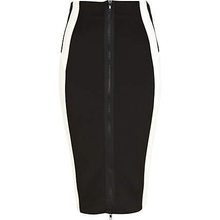 Cream zip front contrast panel pencil skirt - skirts - sale - women