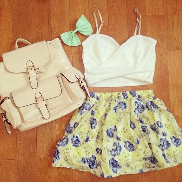 shorts floral flowers skirt crop tops bustier bralette bow bag floral shirt white bow crop top floral skirt backpack