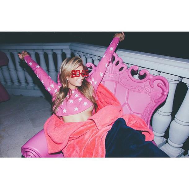 cropped sweater paris hilton pink stars sweater