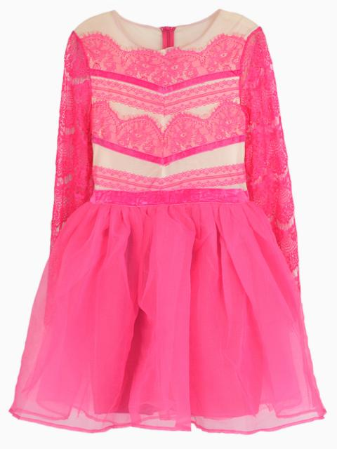 Lace Sleeve Dress with Organza Pouf Skirt | Choies