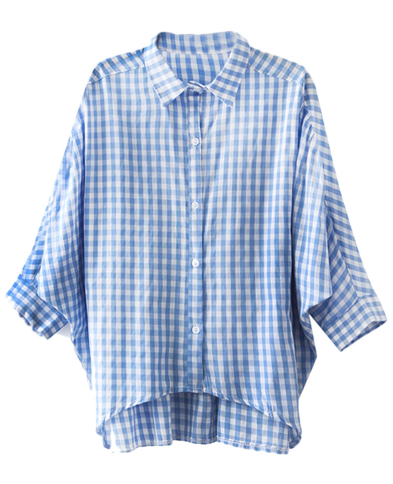 Plaid Batwing-sleeved Md-long Shirt | BlackFive