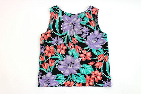 Tropical chemise impression florale haut débardeur par AsburyHill