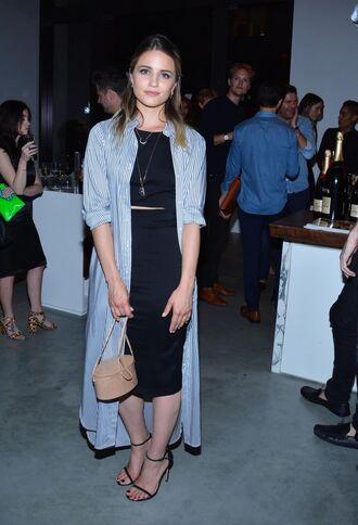 skirt top dianna agron crop tops shirt shirt dress stripes midi skirt pencil skirt