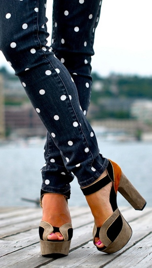 jeans polka dots shoes pants sandals brown high heels