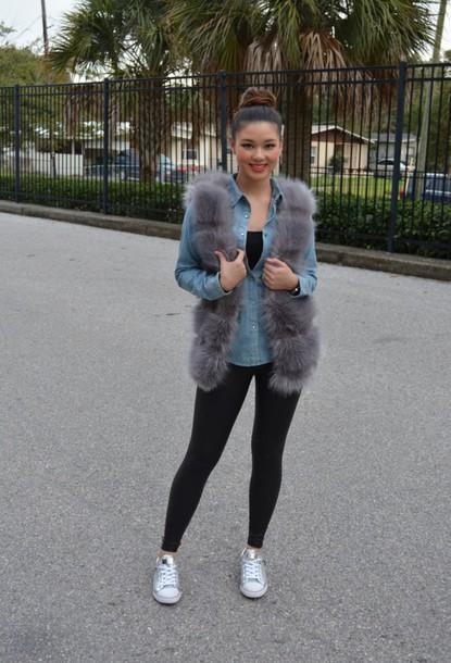 raspberry jam blogger leggings faux fur vest grey denim shirt bun top knot bun grey fur vest