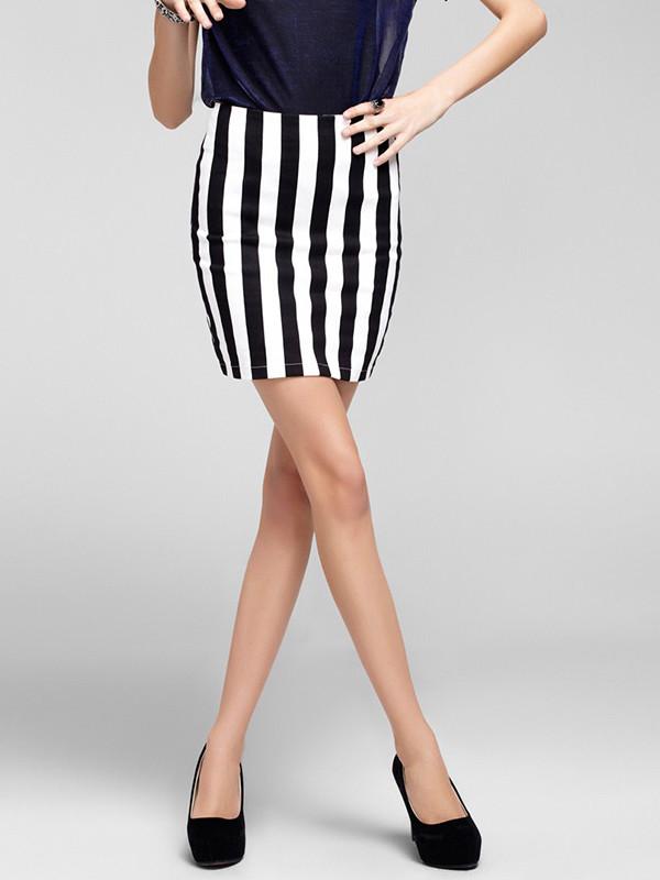 skirt slim pencil skirt mini skirt black and white stripes