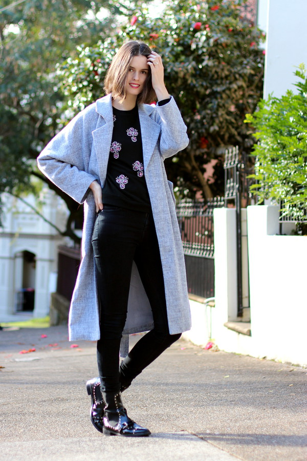 by chill coat sweater jeans shoes