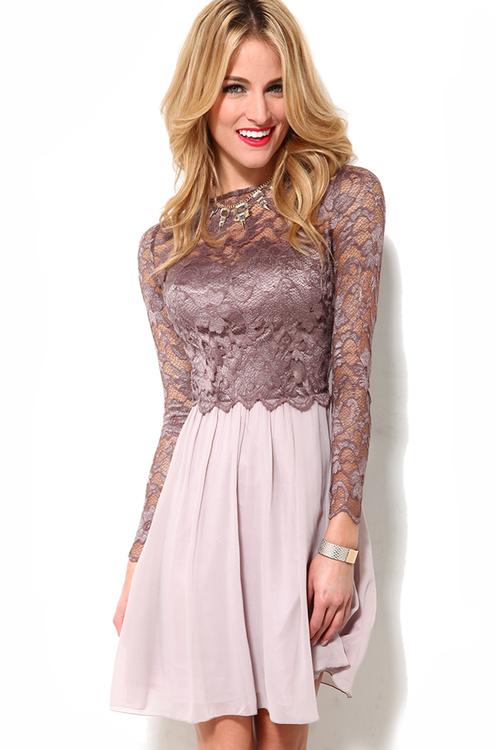 Little Mistress L/S Lace Bodice Dress in Mink