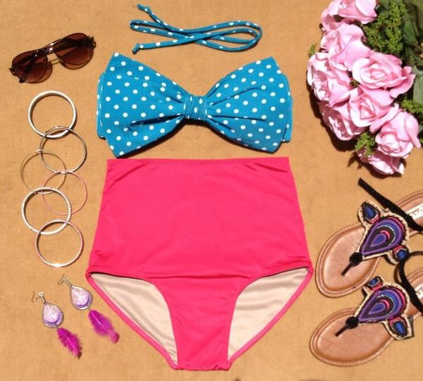 swimwear polka dot swimsuit polka dots vintage swimwear high waist swimsuit teal pink pink and teal polka dots bow bandeau bow top high waisted bikini high waist swimusit bikini