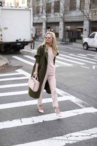 atlantic pacific blogger sunglasses leather pants winter outfits pink jumpsuit pink heels pink bag winter coat d'orsay pumps