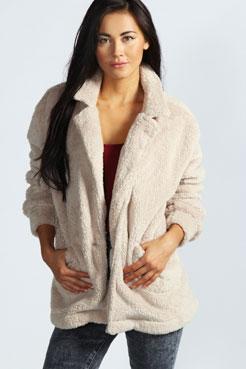 Alice Oversized Fleece Jacket at boohoo.com