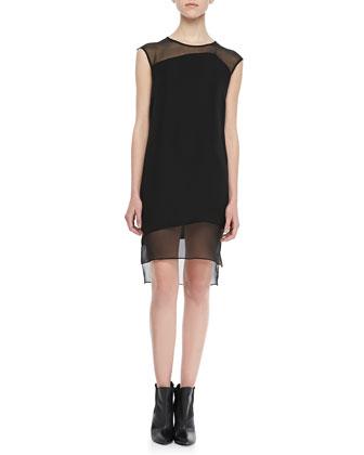 Parker Ziyan Chiffon-Panel Shift Dress - Neiman Marcus