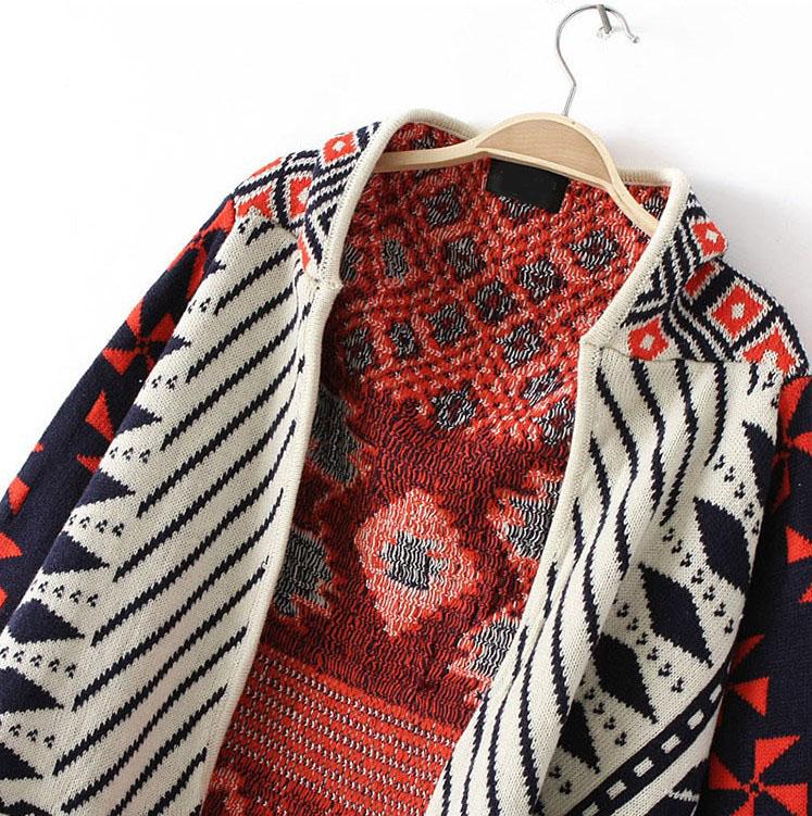 Orange Long Sleeve Tribal Pattern Asymmetrical Cardigan - Sheinside.com