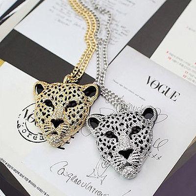 Women's Ladies Rhinestone Leopard Tiger Head Fashion Necklace Sweater Chain | eBay