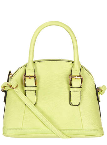 Lime mini panel bowler bag - Dorothy Perkins