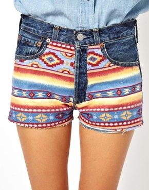 ASOS | ASOS Reclaimed Vintage Levi 501 Shorts with Aztec Print at ASOS