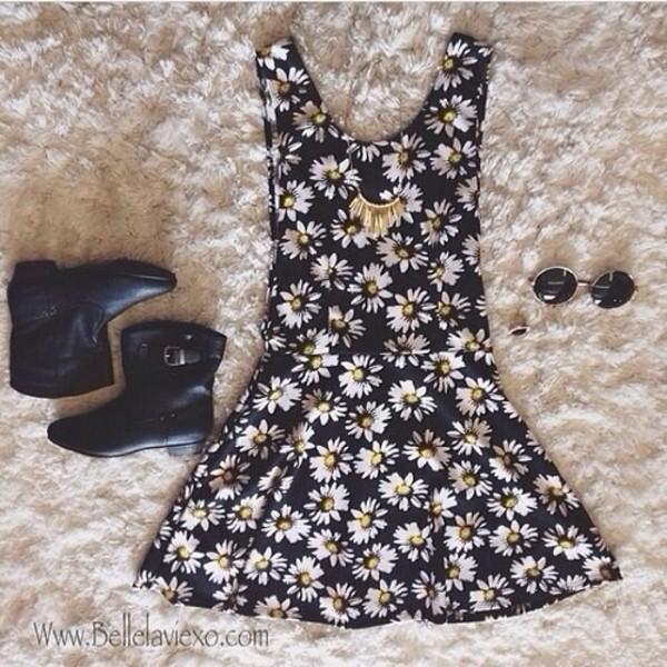 dress daisy floral black little black dress flowers