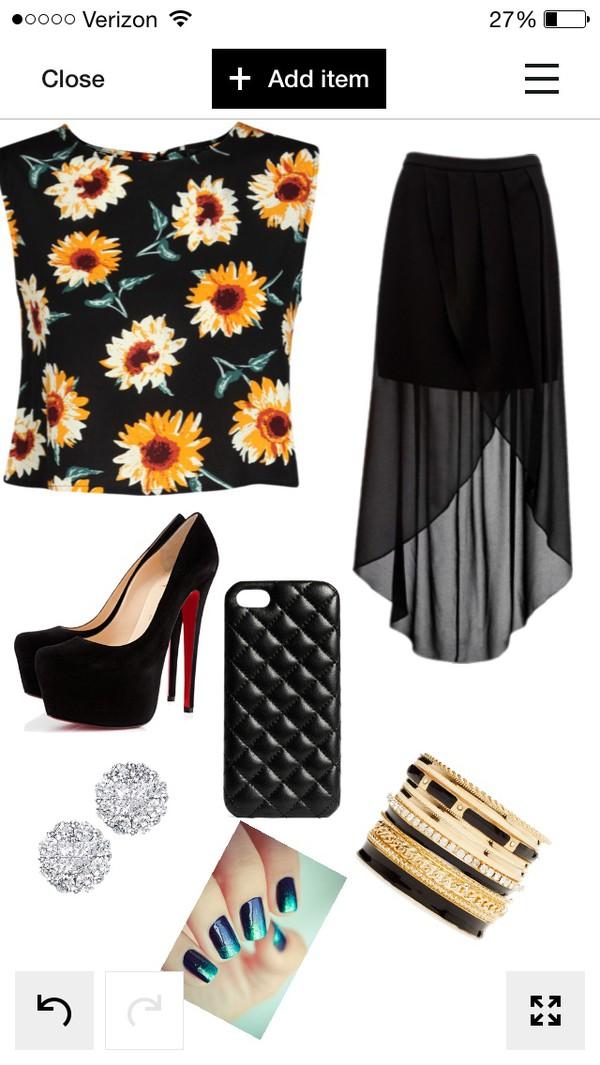 blouse sunflower skirt