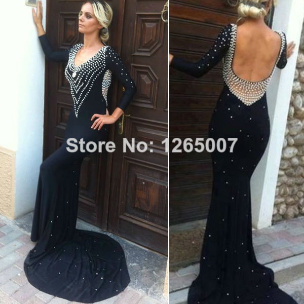 Aliexpress.com : Buy New Arrival Deep V Neck Long Sleeves Pearl Accented Backless Elegant Open Back Formal Elegant Evening Dress Glitter Gowns from Reliable gown beaded suppliers on SFBridal