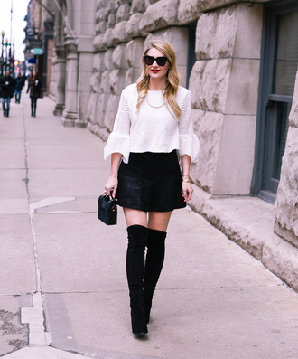 visions of vogue blogger top skirt shoes bag jewels sunglasses make-up mini skirt thigh high boots boots