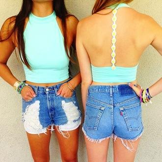 tank top tumblr hipster retro racerback halter top mint tiffany blue daisy flowers crop tops shorts