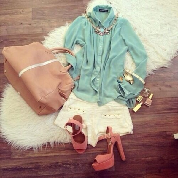 blouse bag heels shorts jewelry shoes jewels
