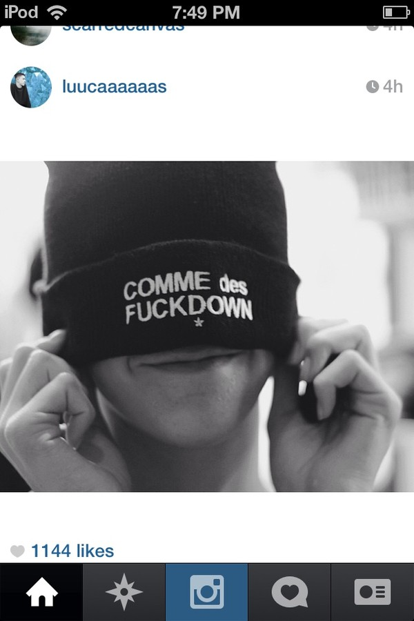 hat black beanie black beanie white words comme des fuckdown