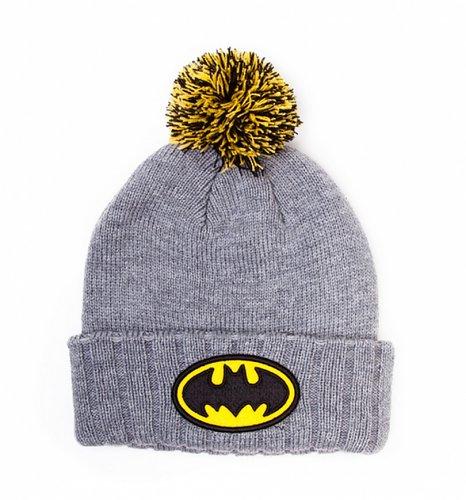 Grey Marl Knitted Batman Bobble Hat : TruffleShuffle.com