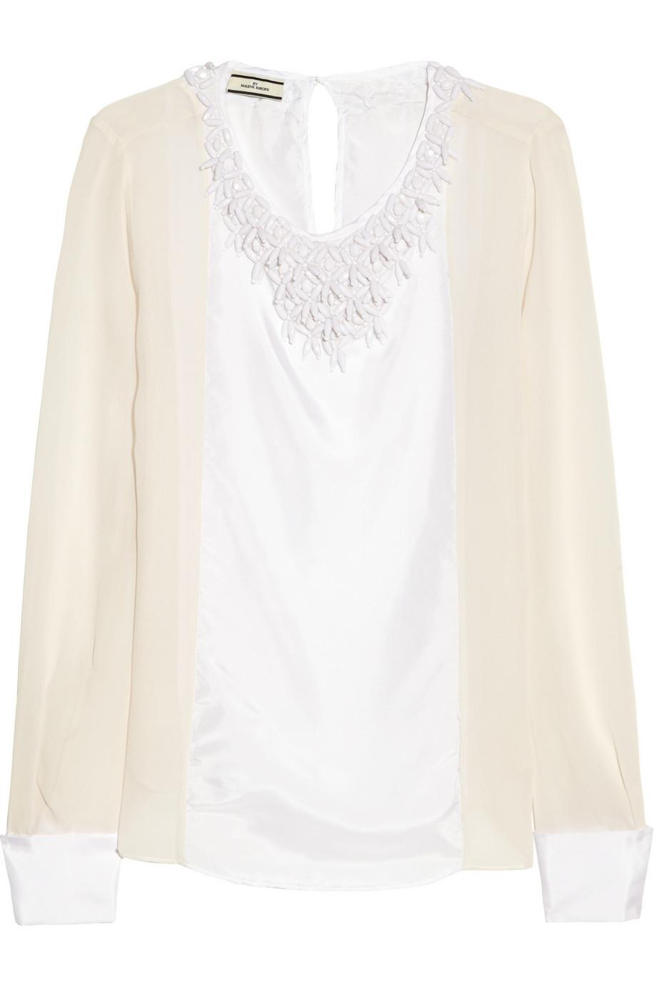 Cenila beaded silk-satin and chiffon blouse | THE OUTNET