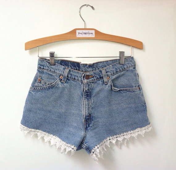 Vintage Levi's 967 High Waist Jean Shorts with by PuraVidaVintage